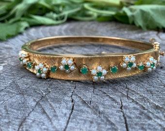 14K Yellow Gold 1950's Emerald and Pearl Bangle, Emerald Bangle, Pearl Bangle, Flower Bangle, December Birthstone Bangle