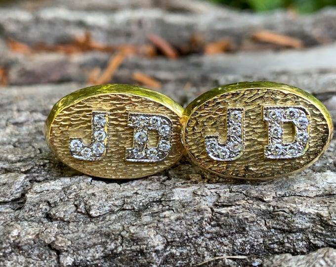 "Gold and Diamond Mens Cufflinks, Diamond Initial Cufflinks, ""JD"" Cufflinks"