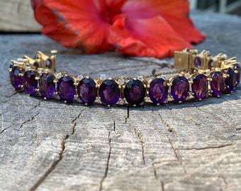 Amethyst Bracelet, Amethyst Bangle, Amethyst and Diamond Bangle, February Birthstone
