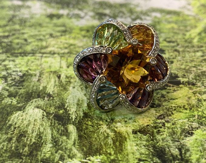 Yellow Gold Multi Gem Ring, Multi Gem Cluster Ring, Peridot Ring, Citrine Ring,