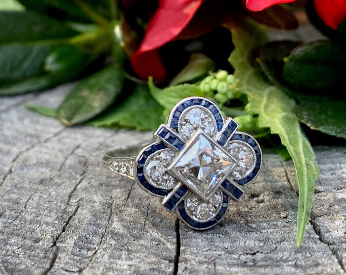 Art Deco Diamond Ring, French Cut Diamond Ring, Deco Statement Ring