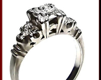 Art Deco Diamond Engagement Ring Antique Diamond Engagement Ring with Old European Cut Diamond Platinum Wedding Ring- ER 392M