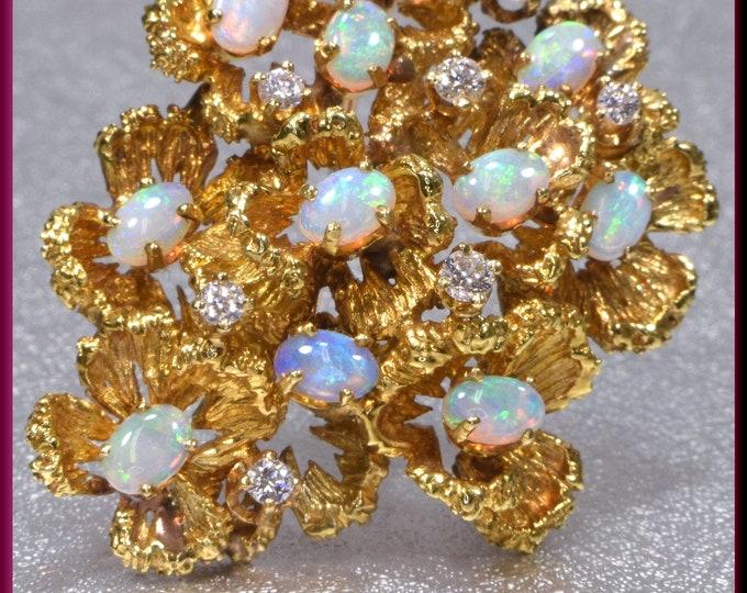 Vintage Opal Brooch,Vintage Gold and Opal Brooch, Floral Brooch, Opal Brooch, Diamond Brooch, Brooch Bouquet, Bridal Brooch