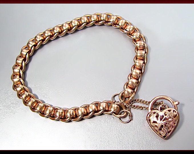 Antique Vintage 9K Pink Gold English Heart Charm Bracelet - BR 302M