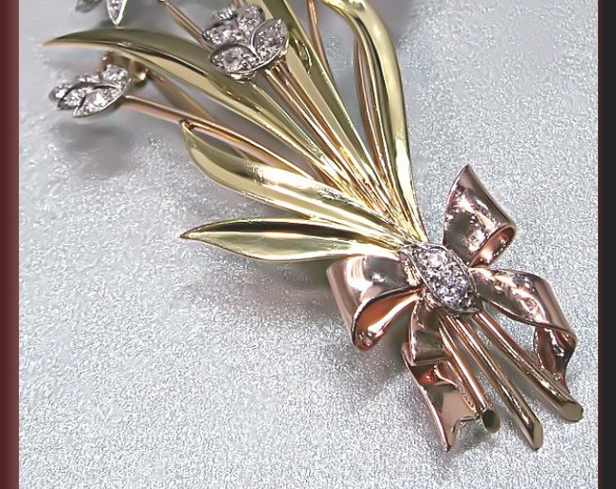 Antique Vintage Retro 1940's Platinum Yellow and Pink Gold Diamond, Ruby and Pearl Spray Bow Pin Brooch