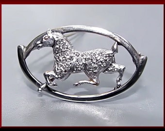 Antique Vintage Edwardian Platinum and 14K Yellow Gold Equestrian Horse Diamond Pin