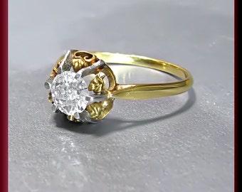 Victorian Diamond Engagement Ring Vintage Diamond Engagement Ring 18K Yellow Gold Diamond Engagement Ring Wedding Ring - ER 450M