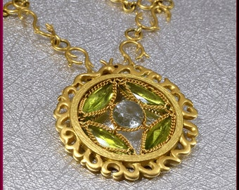 Gold Peridot Necklace, Gold Topaz Necklace, Anthony Nak Pendant, Anthony Nak Jewelry, Yellow gold Pendant