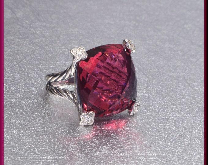 David Yurman Pink Tourmaline Ring, David Yurman Chatelaine Ring, Sterling Silver Ring David Yurman Ring, Yurman Ring Size 6 1/2