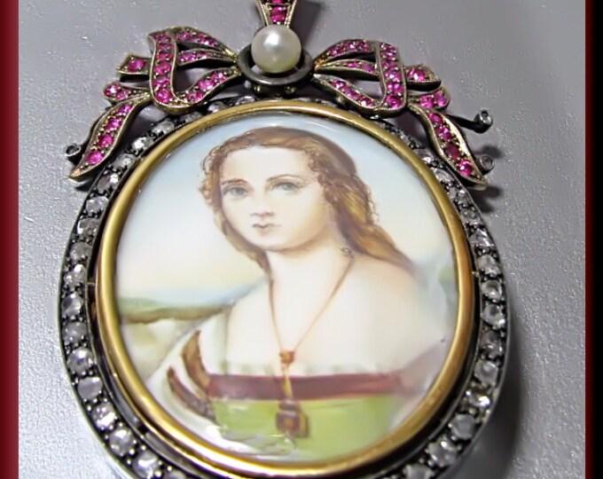 Antique Vintage Victorian 14K Yellow Gold Rose Cut Diamond and Ruby Enameled Portrait Pin/Pendant - P 323M