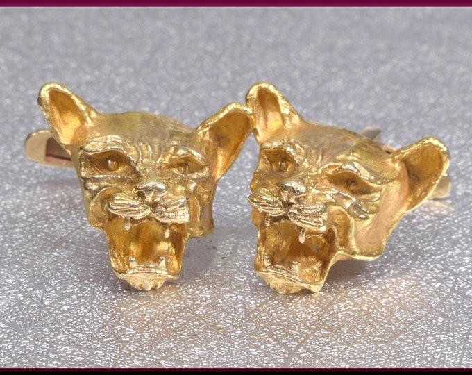 Jaguar Cufflinks Gold Cufflinks Animal Cufflinks  Wedding Cufflinks Men's Cufflinks Unique Cufflinks Grooms Gift for Him Anniversary Gift