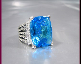 Vintage David Yurman Wheaton Collection Sterling Silver Blue Topaz and Diamond Cocktail Ring Statement Ring - DY 15A