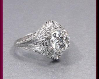 Art Deco Diamond  Engagement Ring Antique Diamond  Engagement Ring Filigree Engagement Ring Platinum Wedding Ring  - ER 515M
