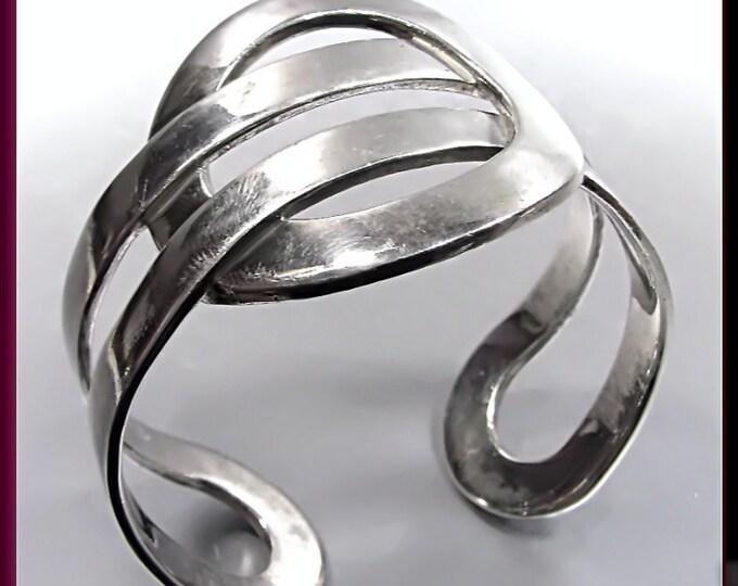 Sterling Silver Vintage Cuff Bangle Bracelet