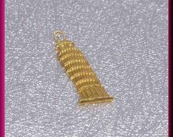 Leaning Tower of Pisa Charm, 18k Yellow Gold Charm, Famous Landmark Charm