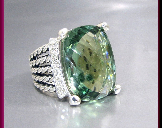 Vintage David Yurman Wheaton Collection Sterling Silver Faceted Green Prasiolite Cocktail Ring Statement Ring - DY 32
