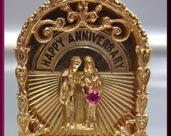Happy Anniversary Yellow Gold Charm or Pendant with Ruby Gift for Her