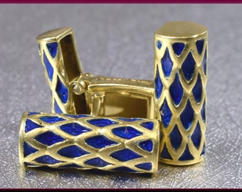 Gold Cufflinks Designer Cufflinks Webb 18K Yellow Gold and Blue Enamel Men's Cufflinks - M 214M