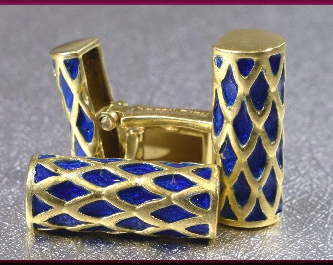 Gold Cufflinks Designer Cufflinks Webb 18K Yellow Gold and Blue Enamel Men's Cufflinks - M 214M