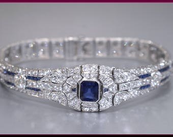 Antique Vintage Art Deco Cushion Cut Sapphire and Diamond Bracelet - BR 236S