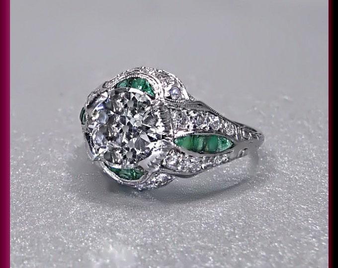 Antique Engagement Ring Art Deco Engagement Ring Filigree Ring Alternative Ring Art Deco Ring Statement Ring Platinum Ring Unique For Her