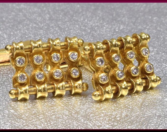 Gold Cufflinks Wedding Cufflinks Men's Cufflinks  Diamond Cufflinks Men's Jewelry Grooms Gift for Him Anniversary Gift
