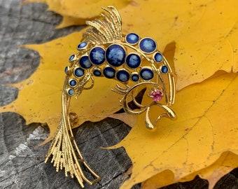 Gold Dolphin, Gold Dolphin Brooch, Enamel Dolphin, Yellow Gold Diamond Fish Brooch, Gold Fish Pin