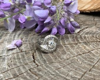 Diamond Cocktail Ring, Diamond Retro Cocktail Ring, Vintage Baguette Cocktail Ring, Statement Ring