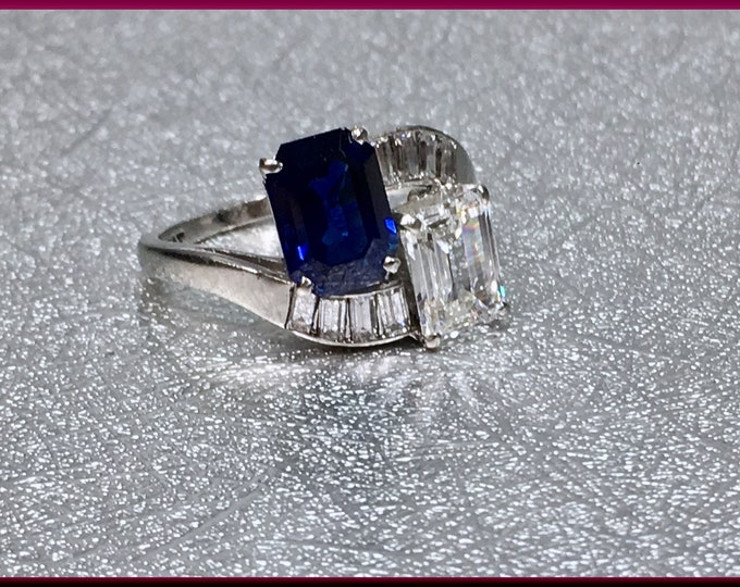 Emerald Cut Diamond Ring Emerald Cut Sapphire Ring Diamond ByPass Ring Vintage Diamond Ring Sapphire ByPass Ring Vintage Platinum