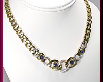Vintage 18k Yellow and White Gold Diamond and Cabochon Sapphire Necklace