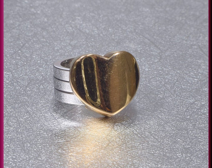 Gold Heart Ring, Bold Heart Ring, Marina B Heart Ring, Statement Ring, Right Hand Ring