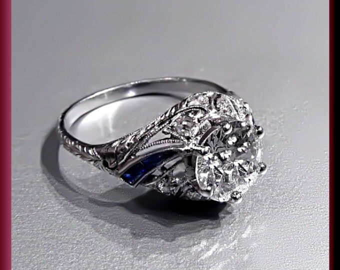 Art Deco Diamond Engagement Ring Antique Diamond  Engagement Ring with Old European Cut Diamond Platinum Wedding Ring  -