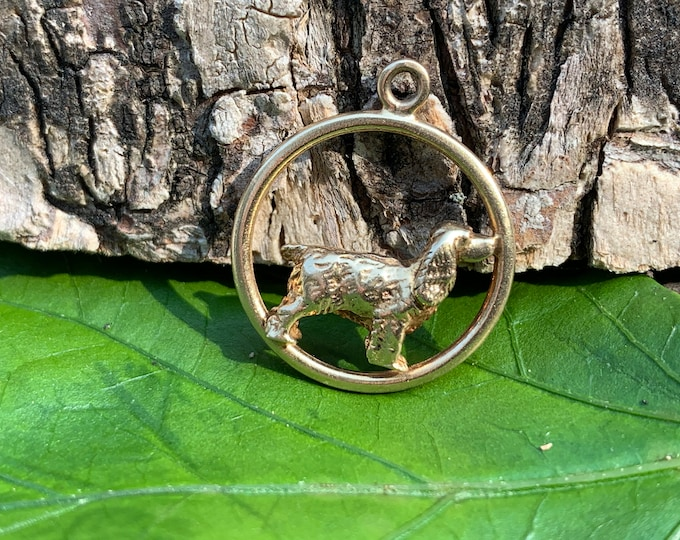 Yellow Gold Dog Charm, Gold Dog Pendant, Dog Necklace, Dog Jewelry
