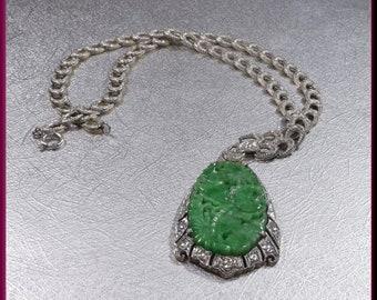Jade Necklace Diamond Necklace Vintage Jade Pendant