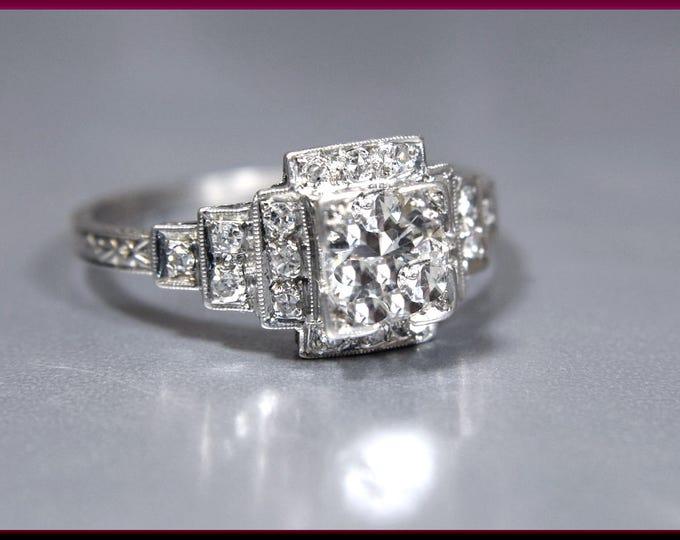 Art Deco Diamond Engagement Ring Antique Diamond Engagement Ring with Old European Cut Diamond Platinum Wedding Ring - ER 627M