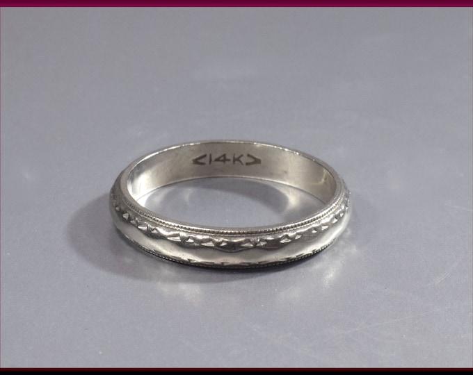 Vintage Diamond Wedding Band Vintage Wedding Band Vintage Eternity Band 14K White Gold Wedding Ring - R 540M