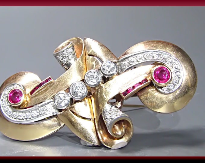 Antique Vintage Retro 14K Pink Gold Ruby and Diamond Clips Brooch Pin - P 423M