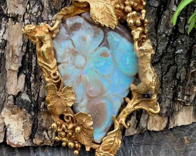 Eric De Kolb Opal Pendant, Boulder Opal Pendant, Boulder Opal Flower Brooch, Opal Flower Pendant