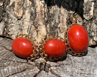 Arr Deco Coral Pendant, Coral Set, Coral Earring, Art Deco Coral Earrings, Coral Earrings