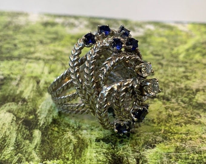 Sapphire and Diamond Ring, Sapphire Statement Ring, Sapphire Cocktail Ring, September Birthstone, April Birthstone