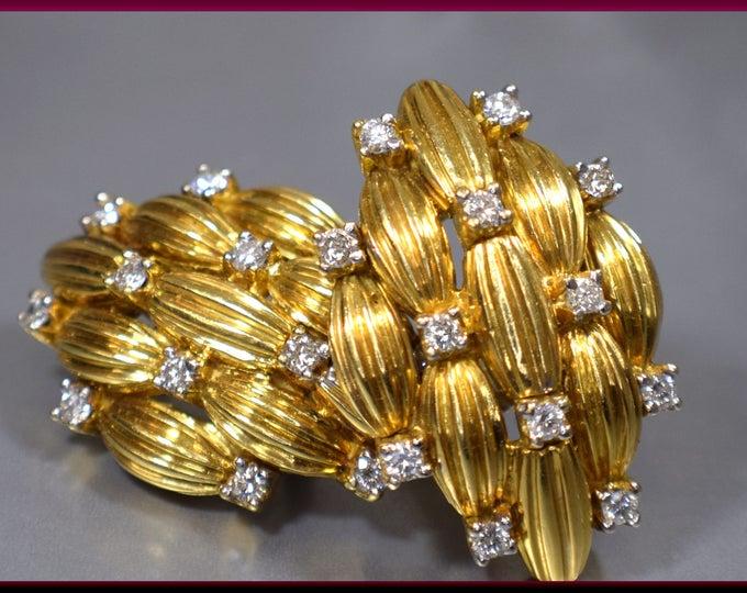 Vintage 18K Yellow Gold and Diamond Earrings, Basket Weave Gold Earrings