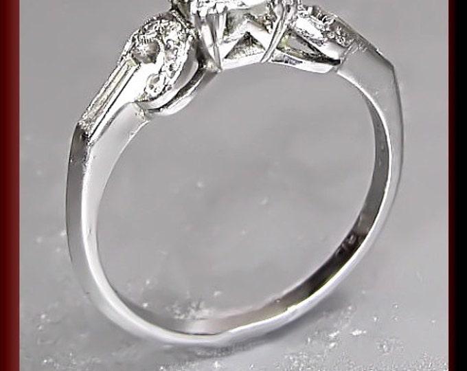 Vintage Diamond Engagement Ring Art Deco Diamond Engagement Ring with Old European Cut Diamond Platinum Wedding Ring  - ER 423M