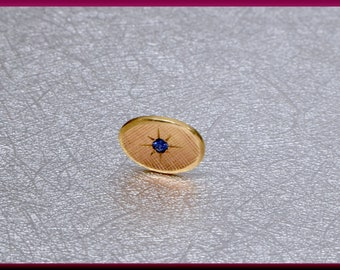 Tiffany and Co Tie Tack 14K Yellow Gold and Sapphire Tie Tack Stud