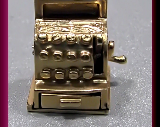 Old Cash Register Charm Vintage 1950's 14K Yellow Old Cash Register Charm with Movable Crank and Open/Close Drawer - C2