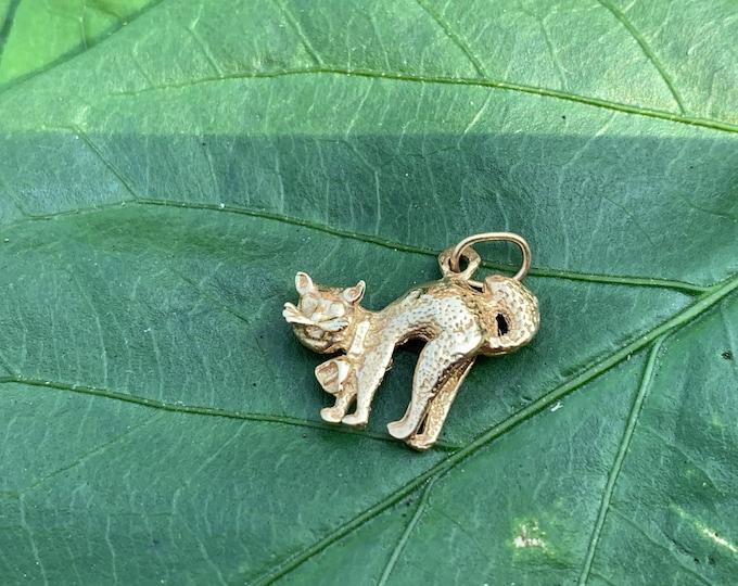 14K Yellow Gold Cat Charm, Gold Cat Pendant, Cat Jewelry