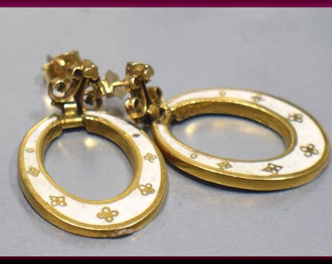 Vintage Victorian 14K Yellow Gold White Enamel Oval Hoop Dangle Earrings - EA 302S