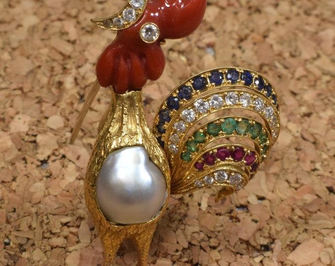 Gold Bird Brooch, Gold Rooster Brooch, Rooster Brooch, Diamond Brooch, Ruby Brooch, Brooch Bouquet, Bridal Brooch