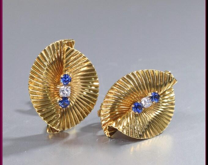 Tiffany and Company Earrings Sapphire and Diamond Earrings 18K Yellow Gold Earrings