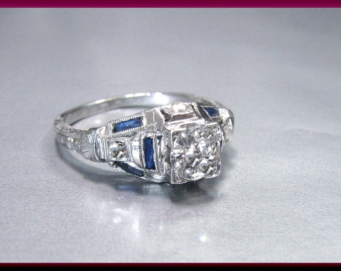 Art Deco Diamond Engagement Ring Vintage Diamond Engagement Ring with Old European Cut Diamond Platinum Wedding Ring - ER 373M
