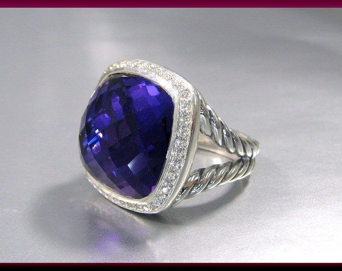 Vintage David Yurman Albion Collection Sterling Silver Faceted Amethyst and Diamond Cocktail Ring Statement Ring - DY 30